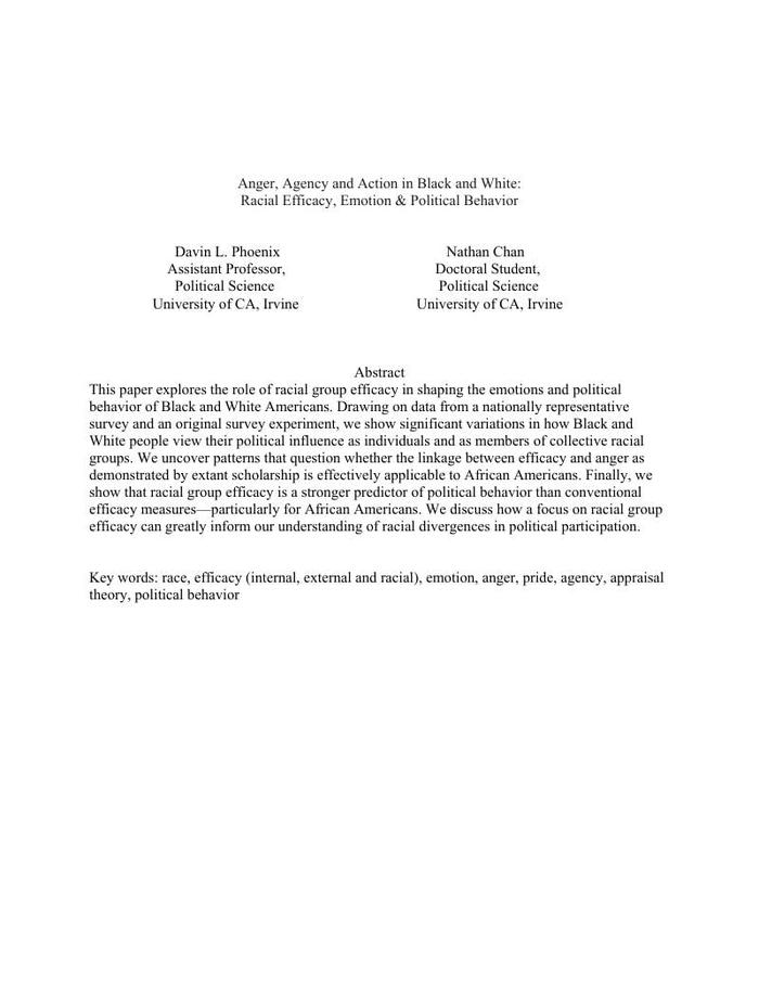 Anger, Agency and Action in Black and White: Racial Efficacy, Emotion & Political Behavior