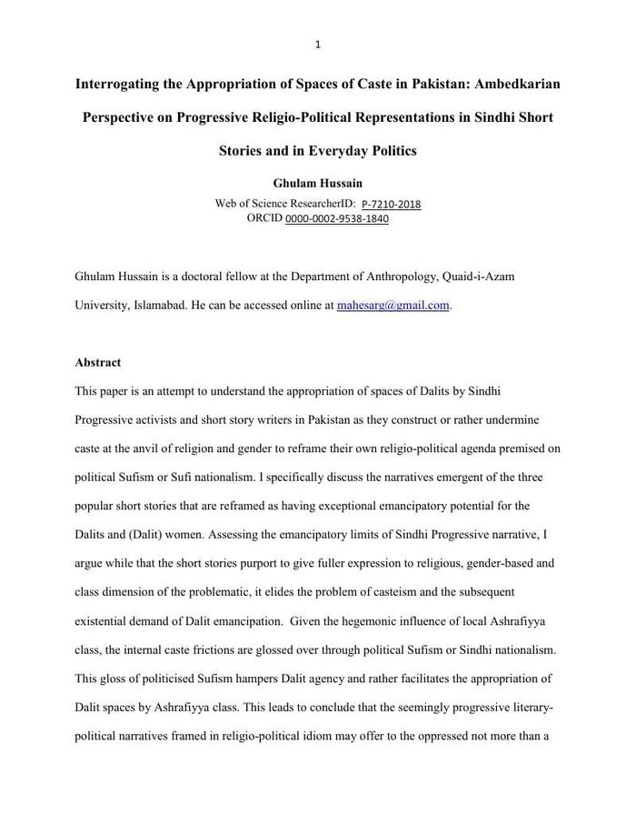 Thumbnail image of Interrogating the Appropriation of Spaces of Caste in Pakistan.pdf