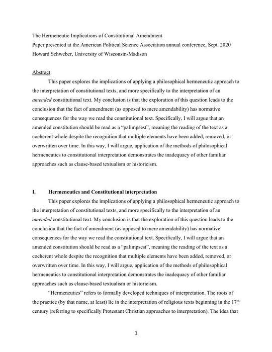 Thumbnail image of constitutional hermeneutics - Hermeneutics of Constitutional Amendment - APSA paper.pdf