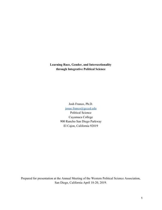Thumbnail image of Franco Learning Race, Gender, and Intersectionality through Integrative Political Science.pdf