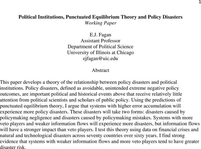 Thumbnail image of A Punctuated Equilibrium Theory of Policy Disasters Preprint.pdf